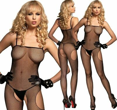 Leg Avenue Fishnet Suspender Crotchless Bodysuit Bodystocking Body Lingerie
