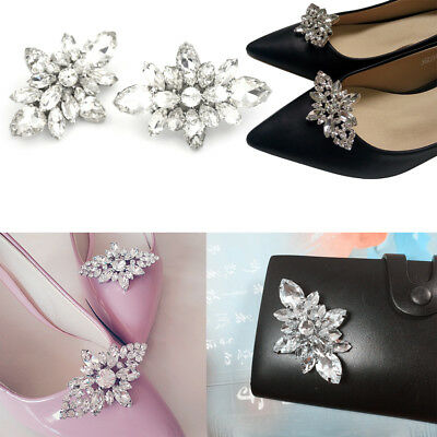 Crystal Diamond Shoes Clips DIY Shoes Flower Charms Bridal Wedding Shoe Clip8ZW