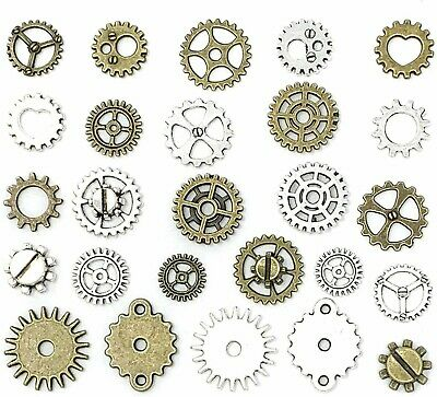 10 Clock Gears Cogs Parts Silver Bronze Metal Steampunk Supplies Assorted Lot