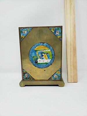 Antique Chinese Brass Chopstick Stand Box Containet Holder Cloisonne Enamel OLD