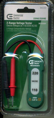 NEW Commercial Electric 110/220 VAC Voltage Tester LED indication light