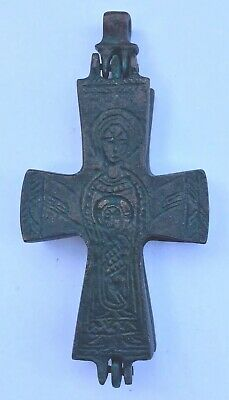 Late Roman/Byzantine Double Sided Bronze Reliquary Cross Circa 12/13th Cent. AD