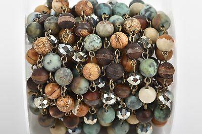 13ft GEMSTONE CRYSTAL Rosary Chain, bronze African Turquoise, Jasper, fch0687b