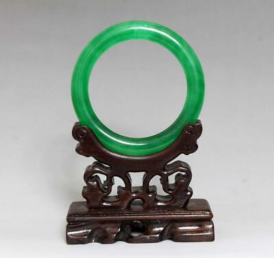 Perfect Rare Chinese Carved Natural Jadeite Bracelet Bangle 6Cm (K13)