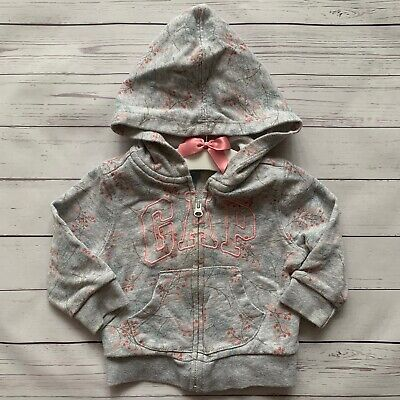 Baby Girls 6-12 Months - Hoodie - GAP Grey Pink Floral Hooded Jumper Top