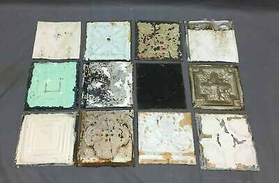 12 Antique Tin Metal Ceiling 6x6 Multi Color Crafts Art Projects Vtg 258-20B
