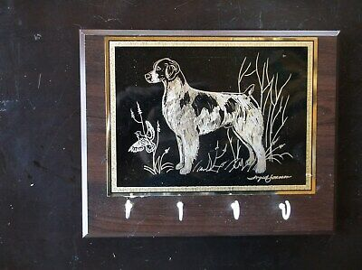 Brittany- Beautifully hand engraved Leash Rack by Ingrid Jonsson.