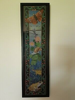 Completed & Framed Cross Stitch Pond Life Butterfly Dragonfly Snail Turtle Frog