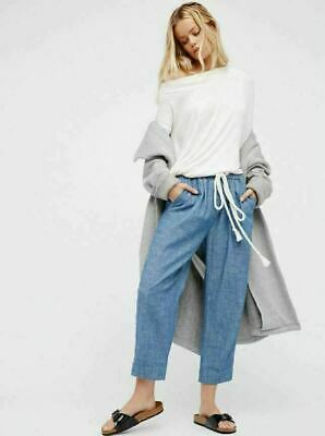 FREE PEOPLE Women's Everyday Chambray Cropped Drawstring Pants Blue Size L