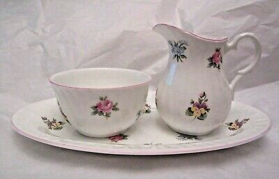 VTG Crown Staffordshire Floral Bouquet Sugar Bowl Creamer Serving Tray Plate