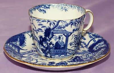 Matching 1928 Royal Crown Derby BLUE MIKADO Tea Cup & Teacup And Saucer Set