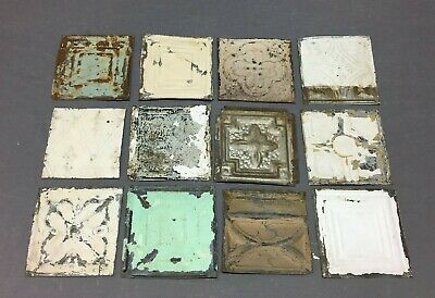 12 Antique Tin Metal Ceiling 6x6 Multi Color Crafts Art Projects Vtg 260-20B