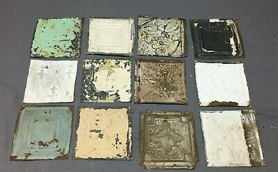 12 Antique Tin Metal Ceiling 6x6 Multi Color Crafts Art Projects Vtg 261-20B