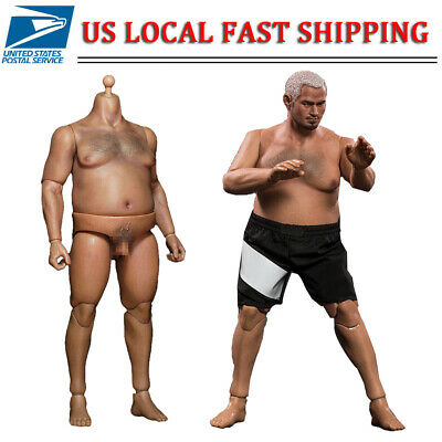 """1/6 Scale Male Body Durable Fat Action Figure AT018 fit Phicen Head Sculpt 12"""""""