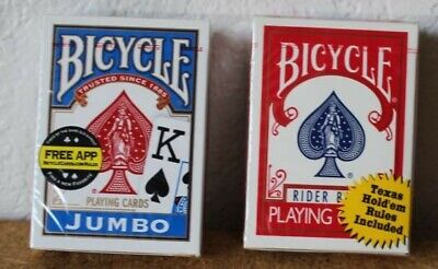 2 NEW Sealed Decks of BICYCLE Standard Face Poker and Jumbo Face Playing Cards
