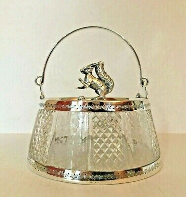 Antique/Vintage Glass Silver-Plate Covered Candy Trinket Dish Basket Squirrel
