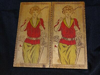 Vintage wood box pyrography flemish art double lid woman golfer colored
