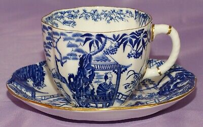 Royal Crown Derby BLUE MIKADO Surrey Coffee Tea Cup & Teacup And Saucer Set