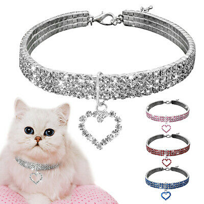 Crystal Diamante Cat Dog Collars Bling Rhinestone Necklace Small Pet Puppy S/M/L