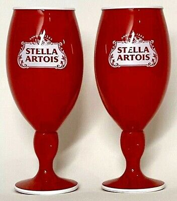 Stella Artois 33 cl Red Acrylic Chalices - Set of Two (2)  - Rare - New & F/S