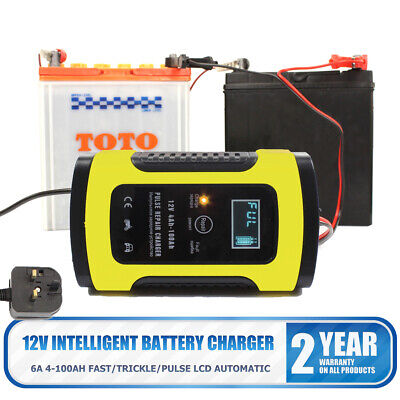 12V 6A Automatic Smart Fast Car Motorcycle Lead-acid Battery Charger LCD Display