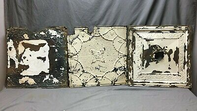 "Lot of 3 Antique Tin Metal Ceiling 24""x24"" Crafts Art Projects Vtg 267-20B"