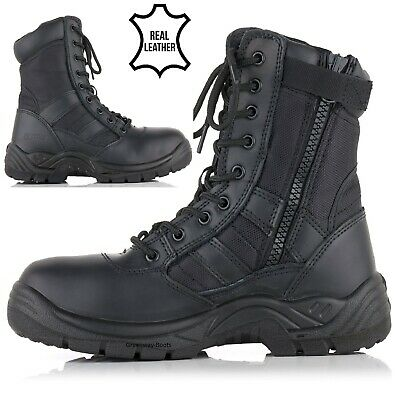 Mens Combat Lightweight Steel Toe Cap Military Safety Boots Police Work Shoes Sz