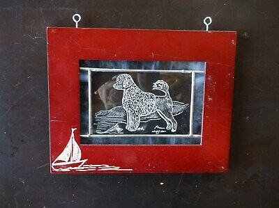 Prtuguese Water Dog- Beautifully hand engraved Wall Plaque  by Ingrid Jonsson.