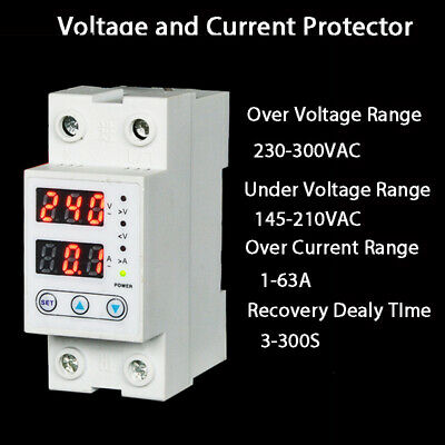 Din Rail Over And Under Voltage Protective Device Protection Adjustable 63A 230V