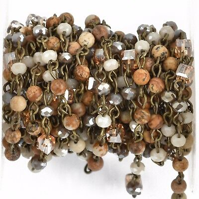 3ft Gemstone Crystal Rosary Chain, bronze, 4mm Picture Jasper, cube fch0805a