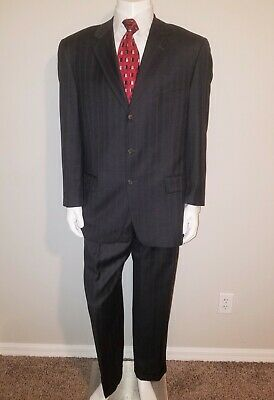 Joseph Abboud 40 R  Men's 2 Piece 3 Button Suit Dark Gray Striped 100% Wool
