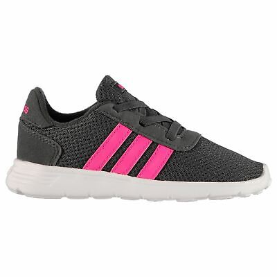 adidas Lite Racer Infant Girls Trainers Grey/Pink/White Shoes Footwear