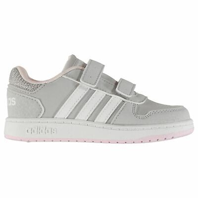 adidas Hoops Nubuck Infant Girls Trainers Grey/White/Pink Shoes Footwear