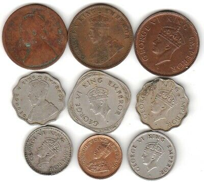 9 different world coins from BRITISH INDIA some silver