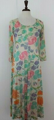 Vintage Vanity Fair Nylon Antron lll Nightgown Womens 10 Ivory Floral L/S USA