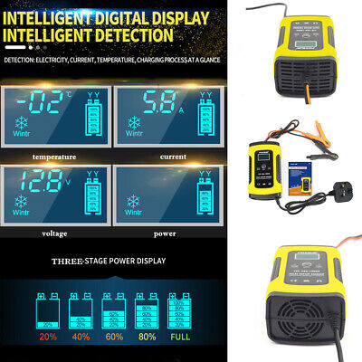 12V 6A Smart Intelligent Car Battery Charger Automobile Motorcycle LCD Repair