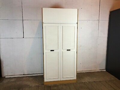 Vintage 1960's Wood and White Wardrobe with Blanket Box