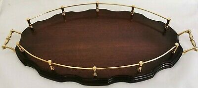Oval Mahogany Drinks Tray with Brass Gallery Rails