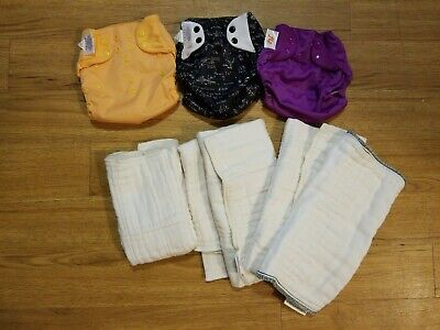 Lot of 3 Flip One Size Cloth Diaper Covers & 5 Cotton Prefolds