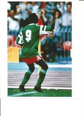 Roger Milla Cameroon Signed 10 x 8 inch authentic football photograph SS876