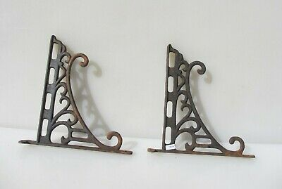 "Vintage Iron Cistern Shelf Brackets Holders Shelve Old   9.5""D"