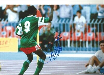 Roger Milla Cameroon Signed 10 x 8 inch authentic football photograph SS876H