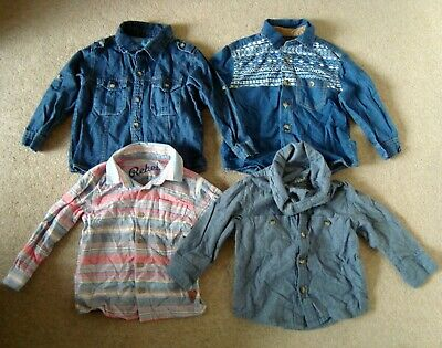 4x Boy's REBEL Long Sleeve Shirts 2-3 Yrs Denim Shirts Blue Bundle Job Lot