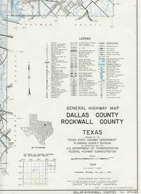Dallas & Rockwell County Texas General Highway Map 1971 State Highway Department