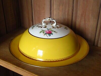 Antique Copeland Spode Golden Yellow Hand Painted Roses Lidded Muffin Dish