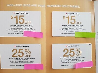 Macys $15 OFF $40 (2X) , 25% OFF Star Pass Require Coupon (2X) Exp 5/31/20
