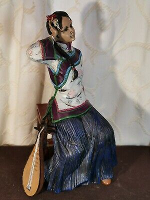 Vtg Chinese Sitting Resin Musican Lady Hand Painted Figurine