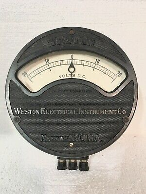 Antique WESTON Electrical Instrument Co. DC Volt Meter-Large-Nice Condition!!