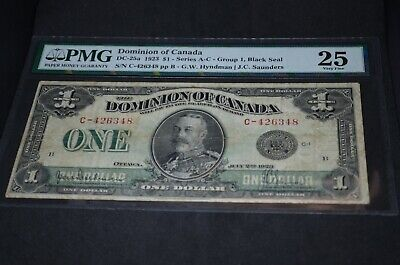 PMG Graded Dominion of Canada $1 Banknote 1923 DC-25a Group 1 VF25