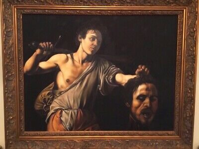 Large Antique Religious Oil Portrait Painting Of David & Goliath Old Master Art